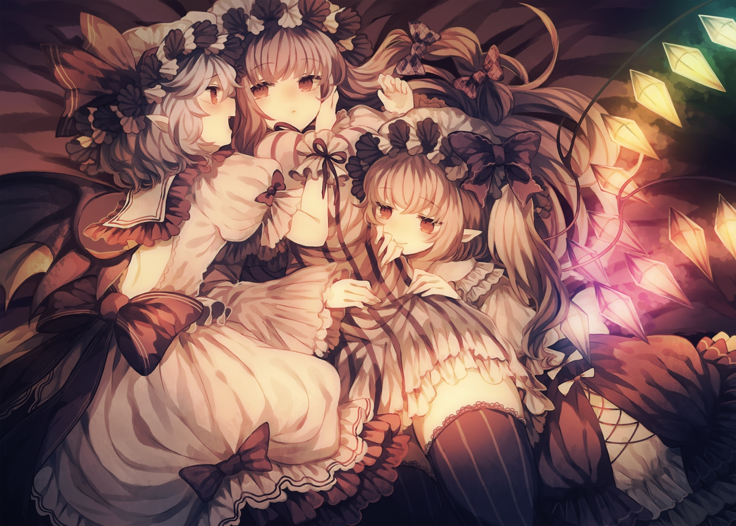 bed blonde_hair bow dress flandre_scarlet gray_hair hat long_hair patchouli_knowledge pointed_ears ponytail red_eyes remilia_scarlet short_hair shoujo_ai thighhighs touhou twintails vampire wings wiriam07
