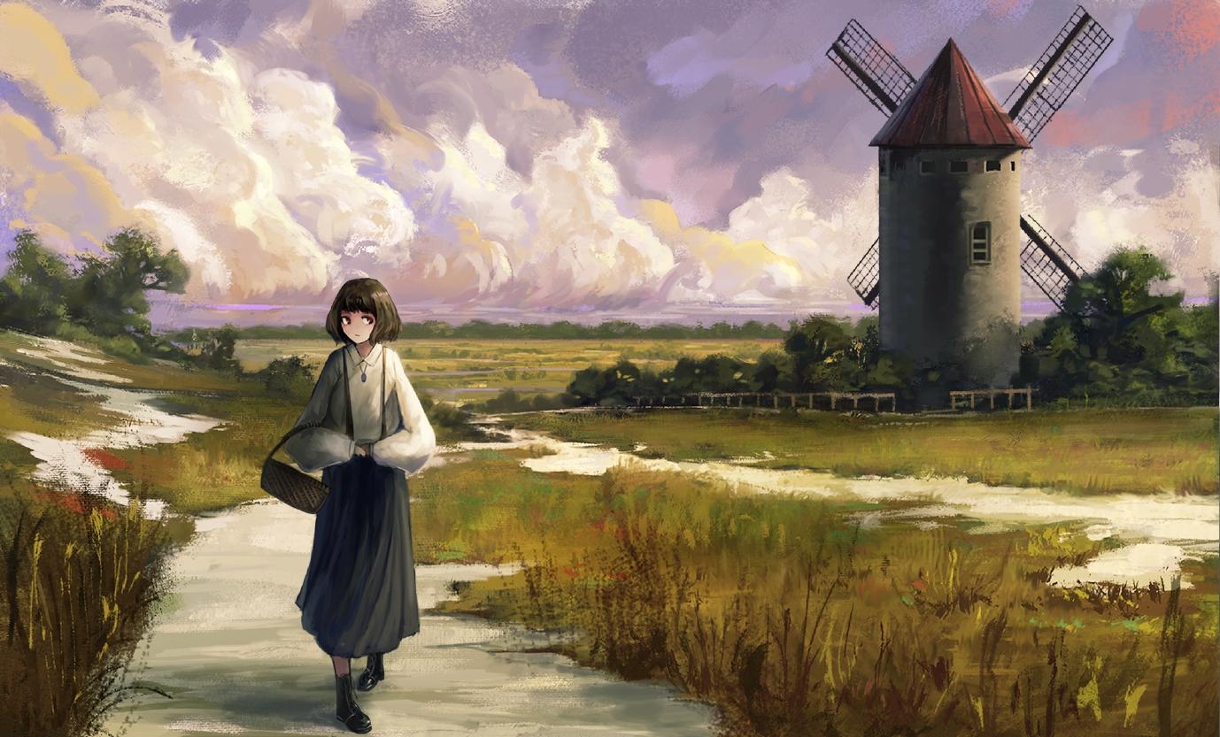 clouds dress fjsmu grass necklace original scenic short_hair windmill
