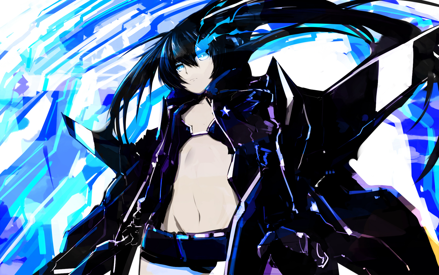 bikini black_hair black_rock_shooter blue_eyes kuroi_mato shorts swimsuit tone_g twintails