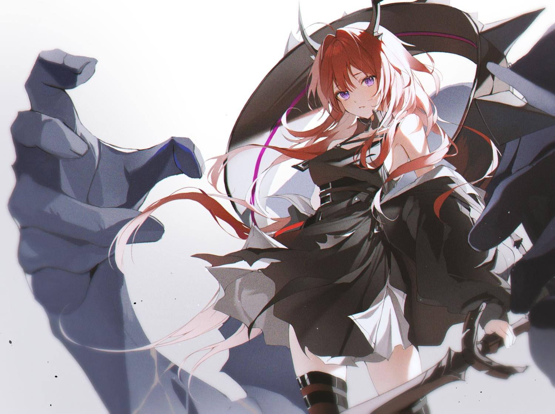 2sham arknights dress horns long_hair purple_eyes red_hair surtr_(arknights) sword thighhighs weapon