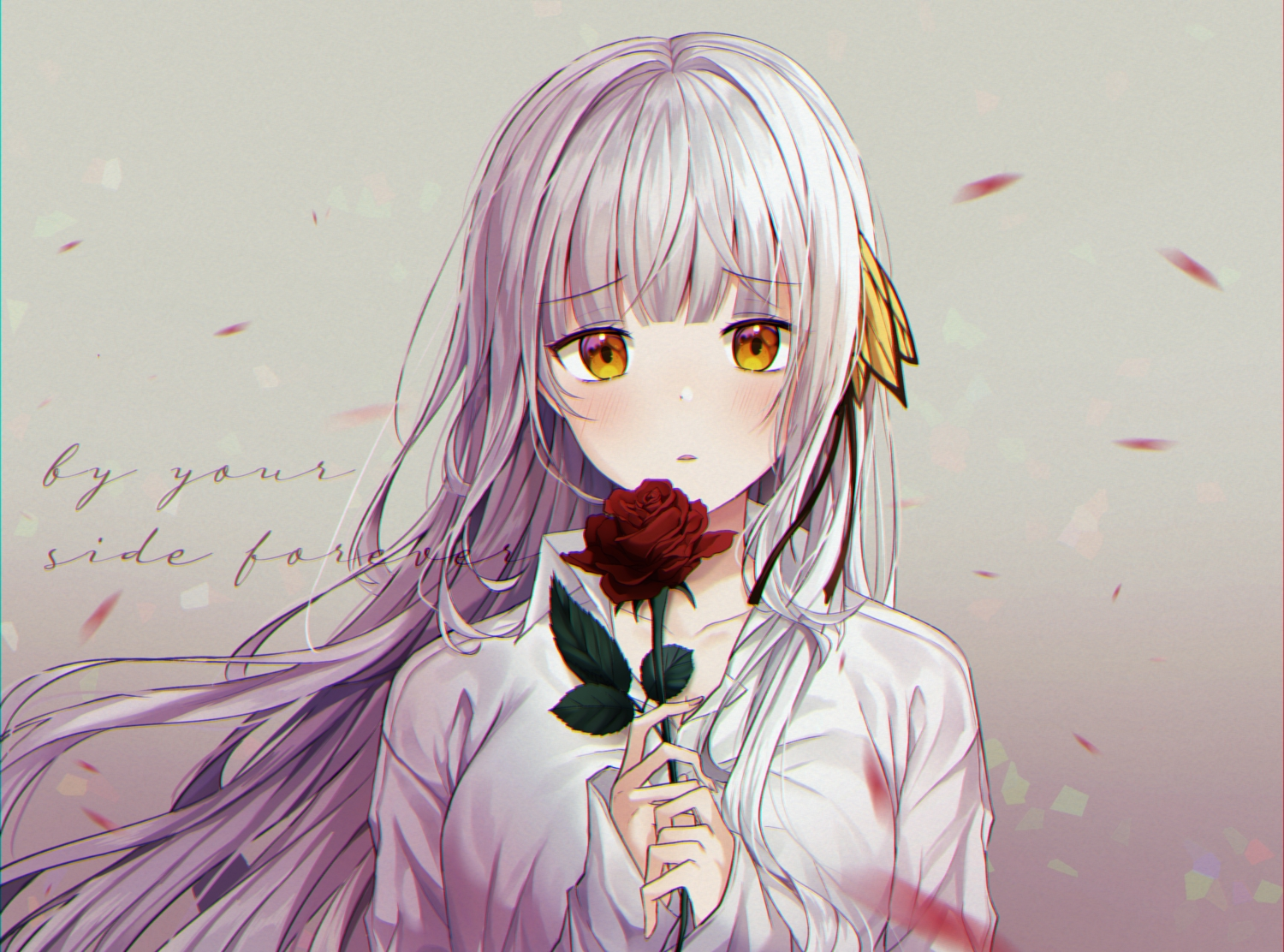 blush flowers gray_hair long_hair miyo_(user_zdsp7735) original rose shirt yellow_eyes