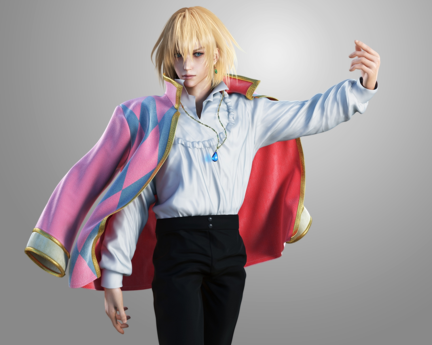 3d all_male blonde_hair blue_eyes gradient gray howl howl's_moving_castle ikedan male necklace realistic short_hair