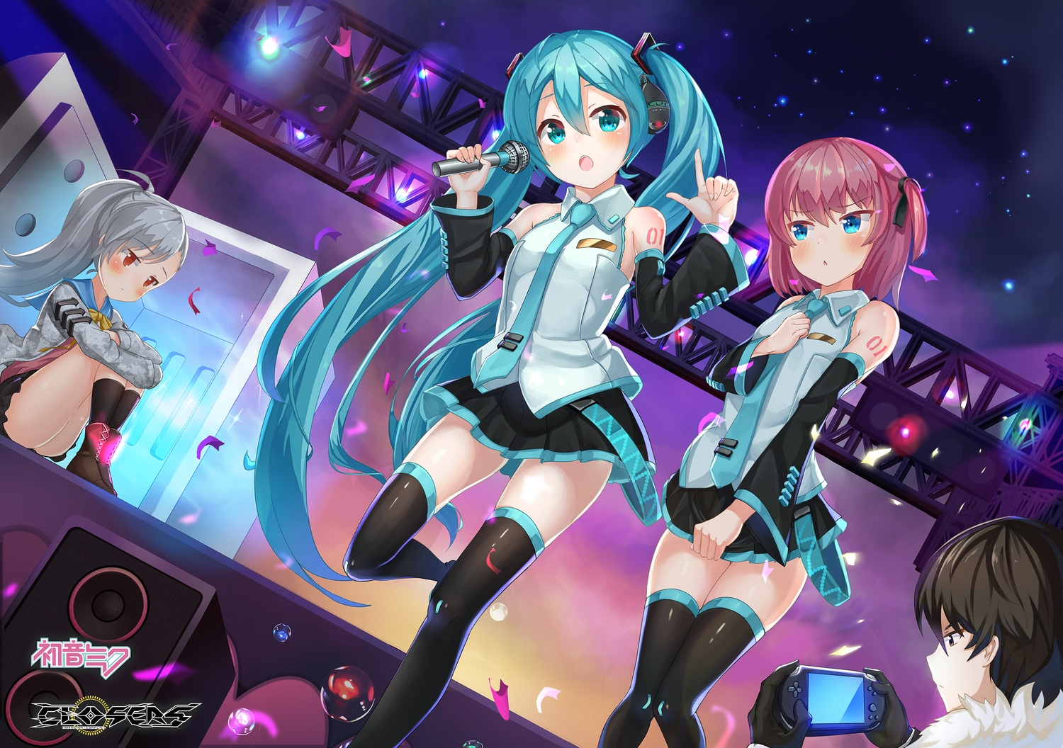 2drr aqua_eyes aqua_hair black_hair blush boots closers cosplay crossover game_console gray_hair hatsune_miku headphones kneehighs lee_seha lee_seulbi logo long_hair male microphone pink_hair ponytail short_hair skirt tattoo thighhighs tie tina_(closers) twintails vocaloid