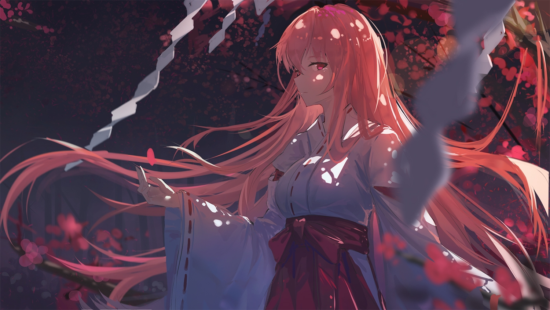 japanese_clothes long_hair miko original pink_hair qtian red_eyes tears