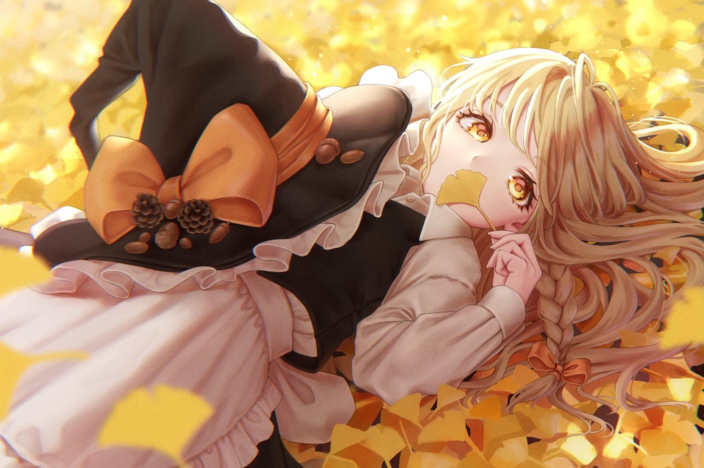 apron autumn bow braids brown_hair dtvisu hat kirisame_marisa leaves long_hair shirt touhou witch witch_hat yellow_eyes