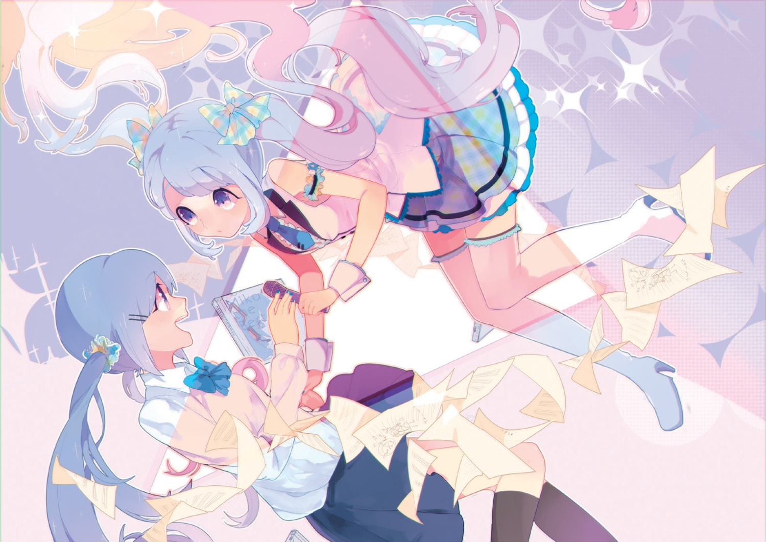 blue_eyes blue_hair hassan_(sink916) hatsune_miku microphone paper twintails vocaloid