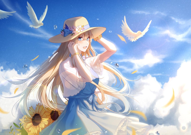 animal anthropomorphism bird blonde_hair blue_eyes bow clouds dress flowers ingmuqianyi lexington long_hair petals sky summer_dress sunflower wristwear zhanjian_shaonu