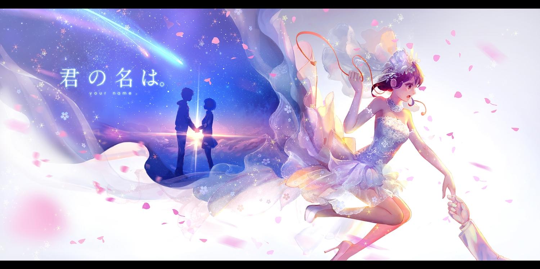brown_eyes choker dress elbow_gloves gloves headdress kimi_no_na_wa male miyamizu_mitsuha pcw petals ribbons short_hair silhouette stars tachibana_taki wedding