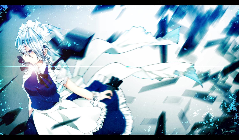 blue_eyes dancho_(dancyo) gray_hair izayoi_sakuya knife maid signed touhou weapon