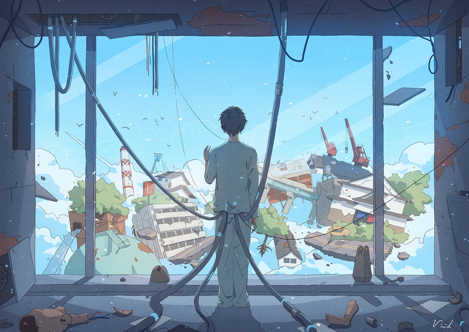 all_male bibido building car clouds doll lighthouse male original ruins short_hair signed sky tree