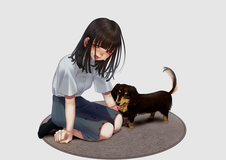 animal blood crying dog hanjuku_otome original tears