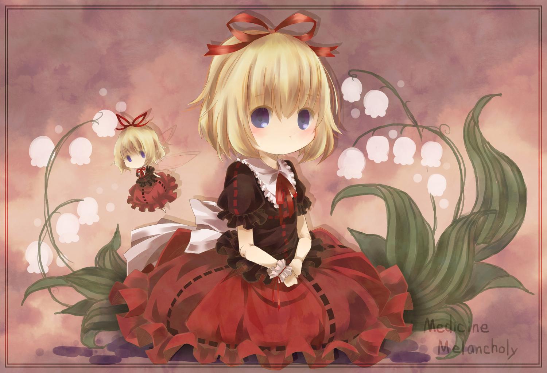 blonde_hair blue_eyes bow flowers medicine_melancholy short_hair su-san touhou toutenkou wings