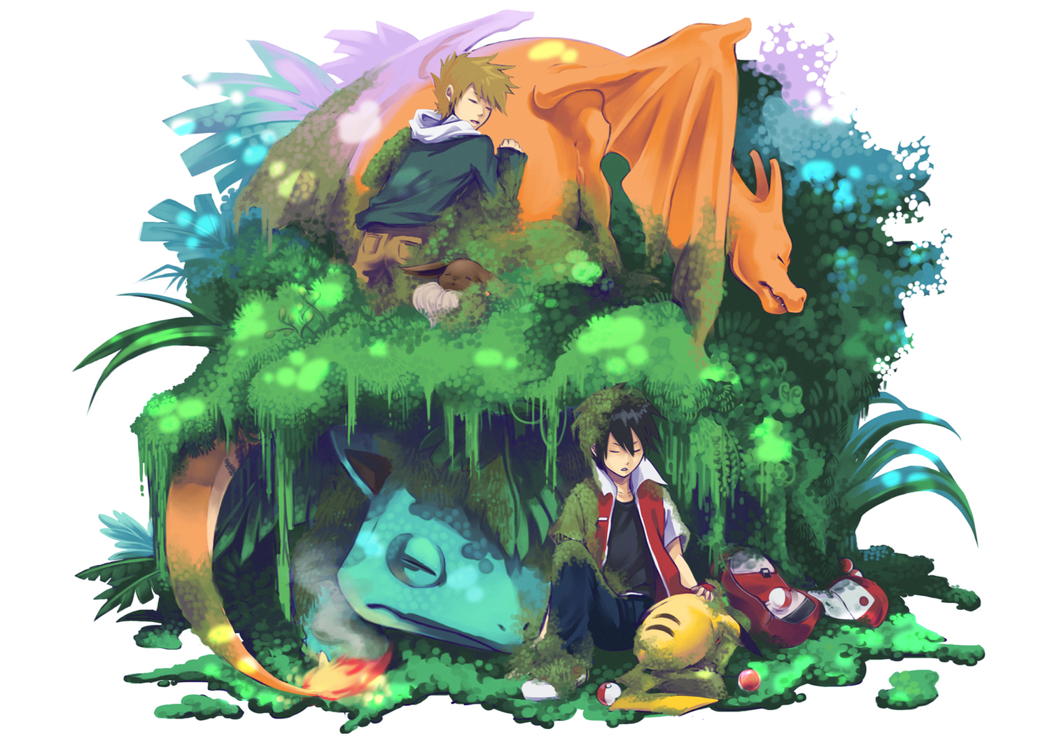 brown_hair charizard eevee fire grass hat ookido_green pikachu pokemon red_(pokemon) sleeping venusaur wings