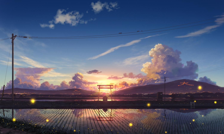 clouds landscape original pei_(sumurai) reflection scenic sky sunset torii