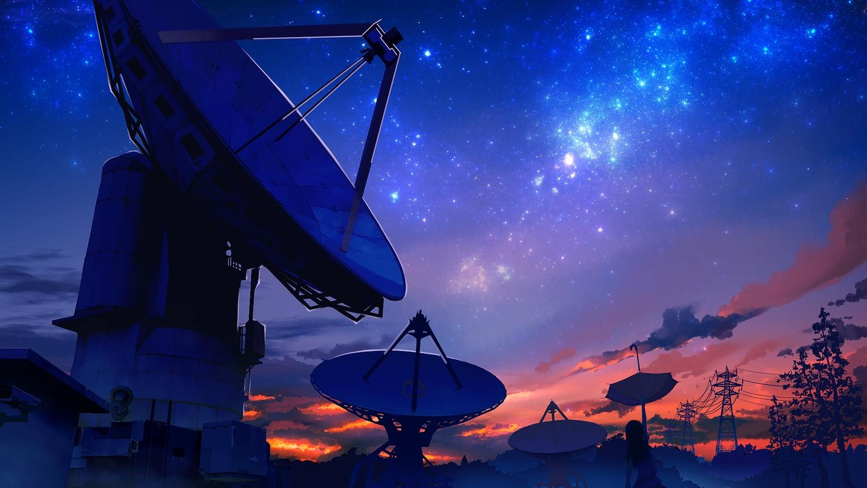 aliasing building clouds long_hair original scenic silhouette smile_(qd4nsvik) stars sunset tree umbrella