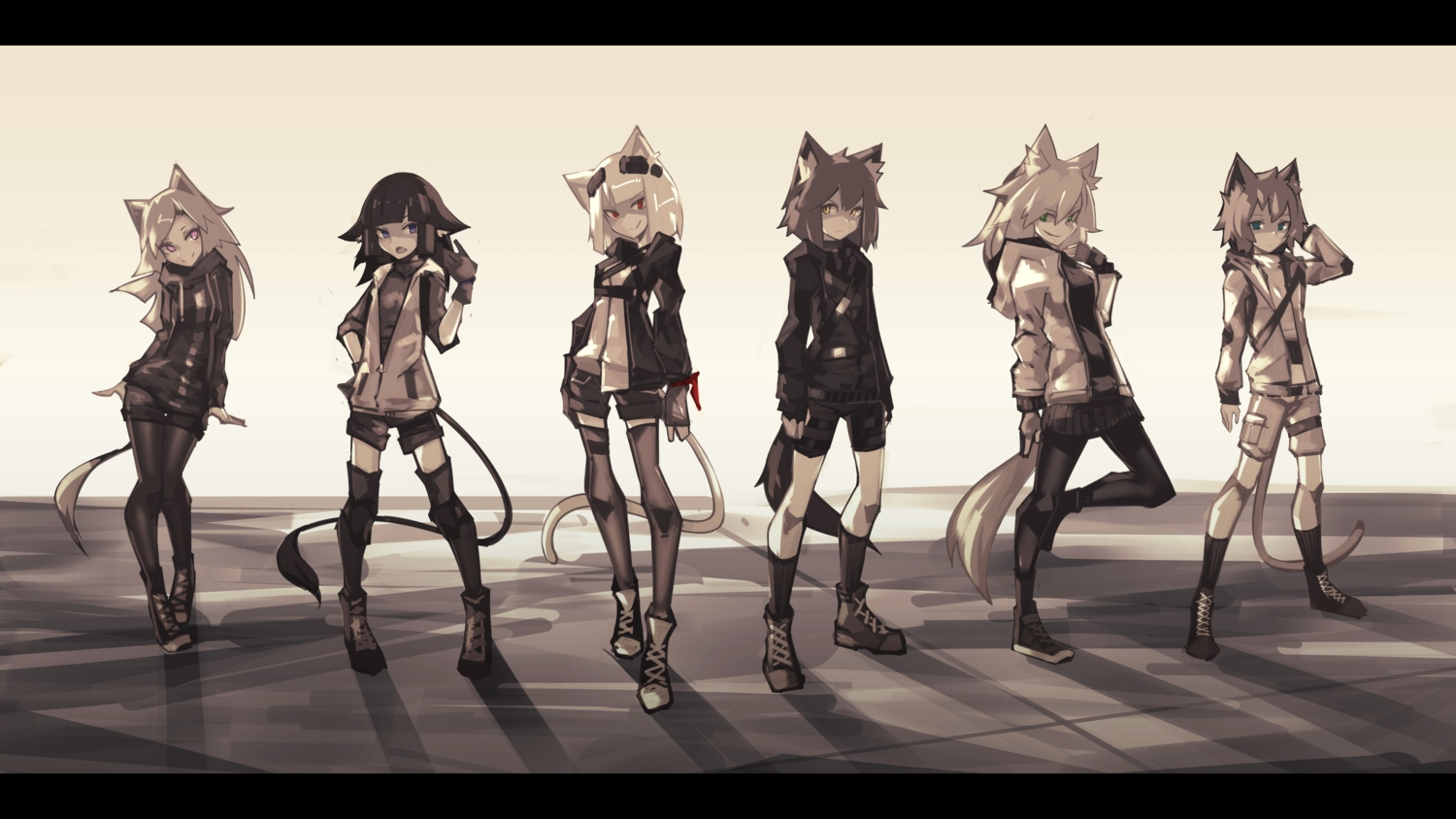 animal_ears blue_eyes boots catgirl deel_(rkeg) doggirl gloves green_eyes group hoodie kneehighs lisa_(deel) long_hair original pantyhose polychromatic purple_eyes ramn red_eyes short_hair shorts skirt tail thighhighs wolfgirl yellow_eyes