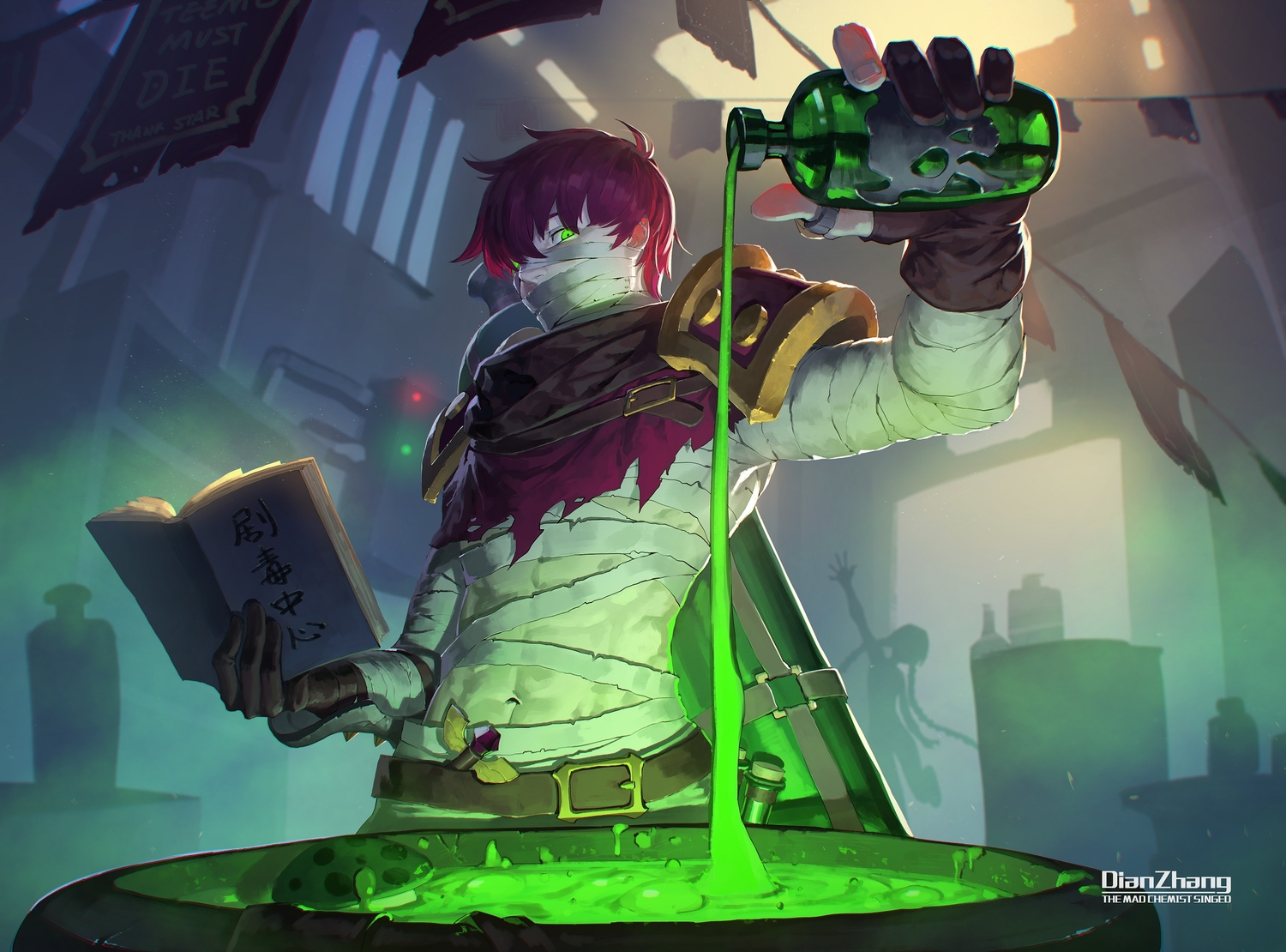 all_male bandage book daye_bie_qia_lian gloves green_eyes jinx_(league_of_legends) league_of_legends magic male navel red_hair short_hair silhouette singed_(league_of_legends) translation_request