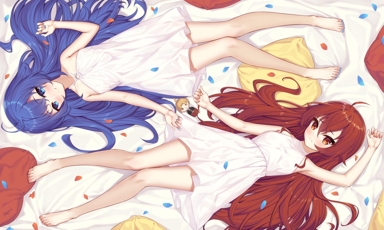 aqua_eyes barefoot blue_hair blush dress eris_greyrat long_hair mushoku_tensei neps-l petals red_eyes red_hair roxy_migurdia see_through signed