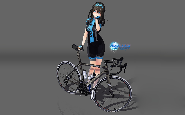 aqua_eyes bicycle bike_shorts black_hair gloves gradient headband hitomi_kazuya long_hair original photoshop shorts skintight watermark