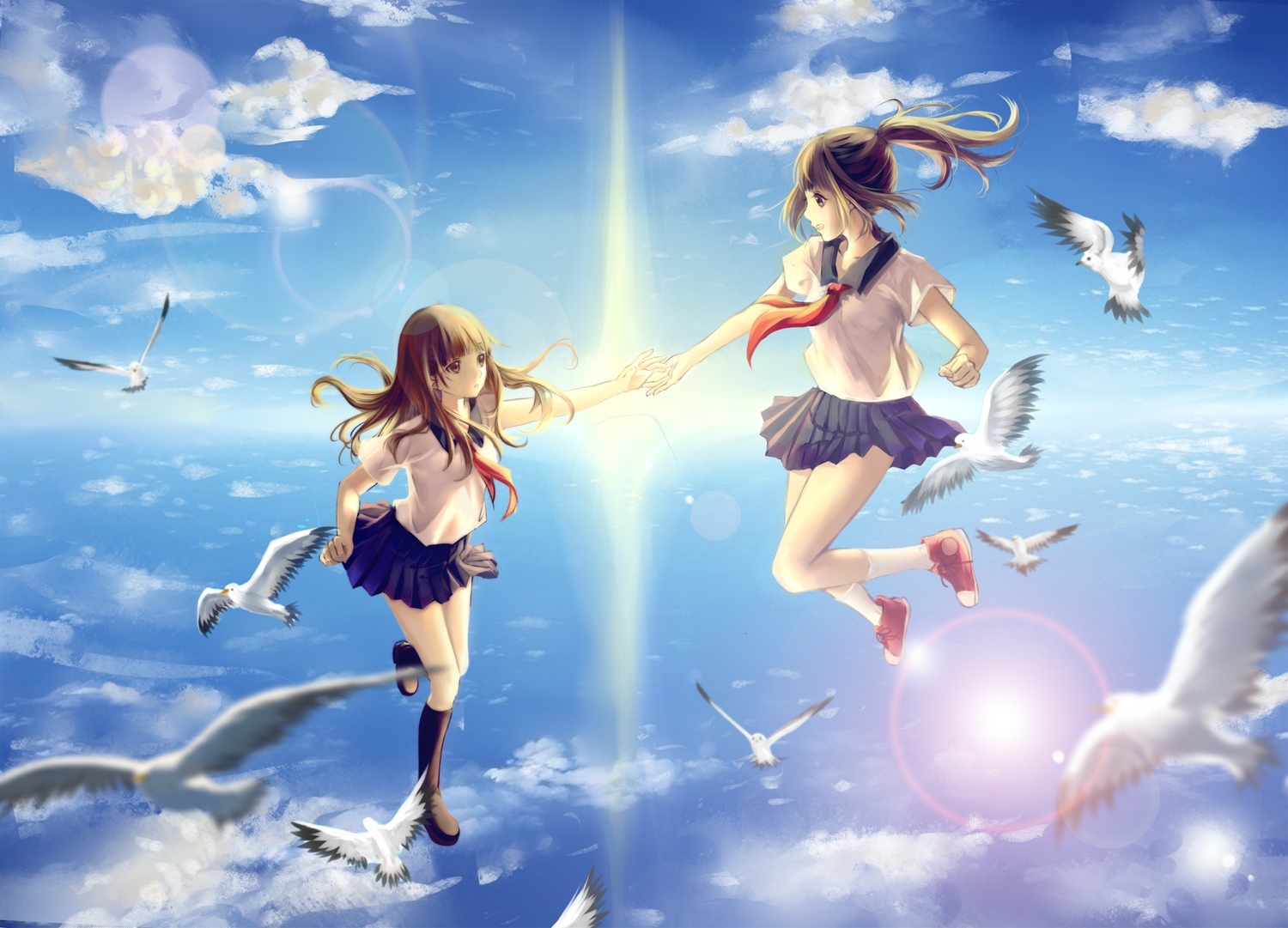 2girls animal bird brown_eyes brown_hair clouble clouds kneehighs long_hair original ponytail school_uniform short_hair skirt sky