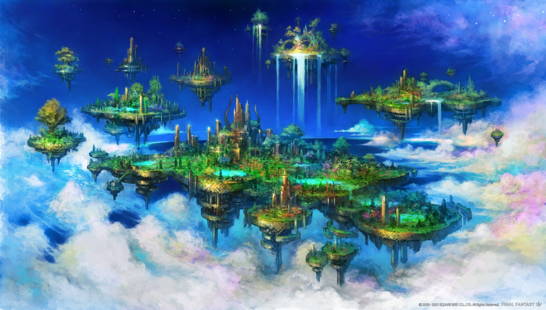 building final_fantasy final_fantasy_xiv scenic square_enix water waterfall watermark