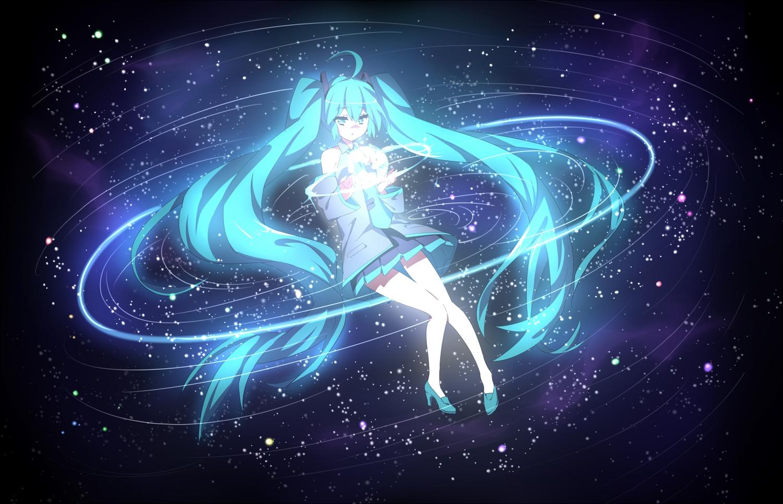 aqua_eyes aqua_hair hatsune_miku long_hair skirt stars tie touwa_nikuman twintails vocaloid