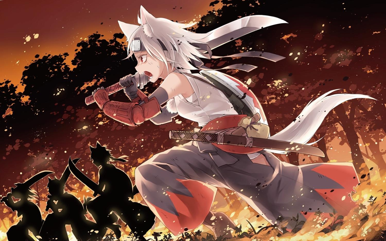 animal_ears elbow_gloves gloves headband inubashiri_momiji short_hair silhouette sword tail touhou toutenkou weapon white_hair wolfgirl