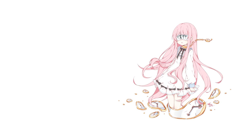 blindfold chain collar dress loli lolita_fashion long_hair original pink_hair signed tagme_(artist) third-party_edit white
