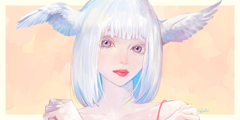 close original short_hair signed tajima_yukie white_hair wings
