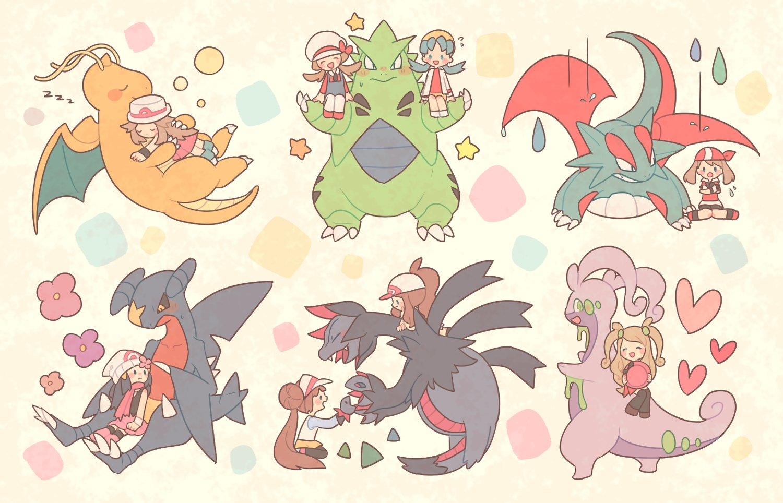 blue_(pokemon) chibi dragonite garchomp goodra haruka_(pokemon) hikari_(pokemon) hydreigon kotone_(pokemon) kris_(pokemon) maru_(umc_a) mei_(pokemon) pokemon salamence serena_(pokemon) touko_(pokemon) tyranitar