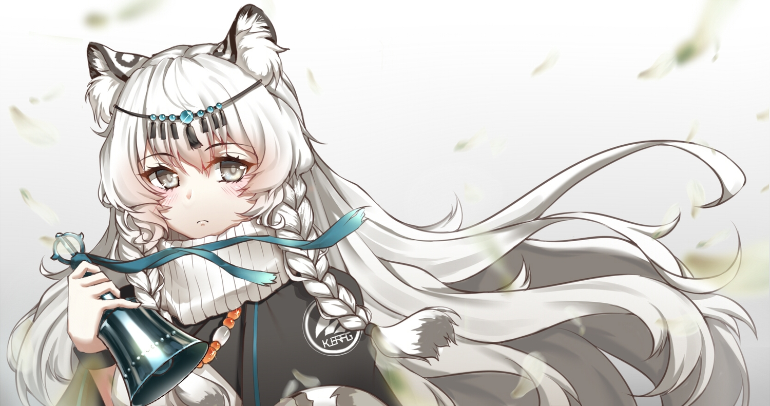 arknights bell blush braids catgirl gradient gray_eyes headdress long_hair necklace pramanix_(arknights) ribbons tail white_hair yiyu_qing_mang