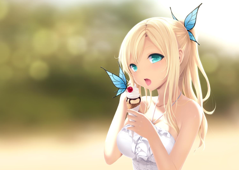 aqua_eyes blonde_hair boku_wa_tomodachi_ga_sukunai butterfly cait candy cherry chocolate food fruit ice_cream kashiwazaki_sena ponytail