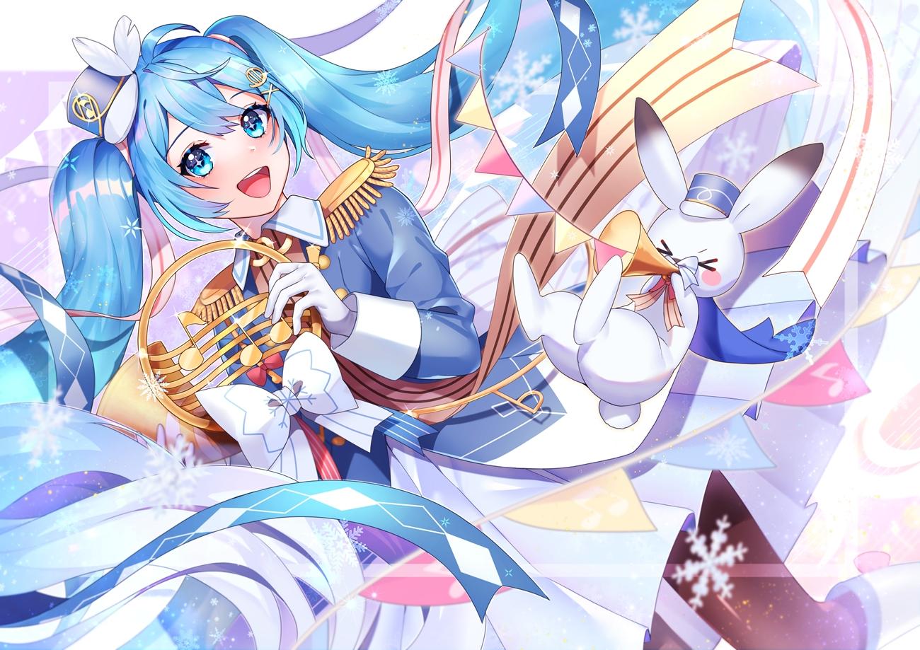 animal aqua_eyes aqua_hair bow gloves hatsune_miku long_hair peta_(snc7) rabbit twintails uniform vocaloid yuki_miku yukine_(vocaloid)