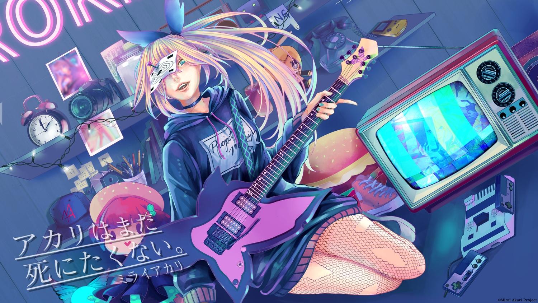 aqua_eyes blonde_hair game_console guitar instrument long_hair mirai_akari mirai_akari_project music pantyhose tagme_(artist) vocaloid watermark