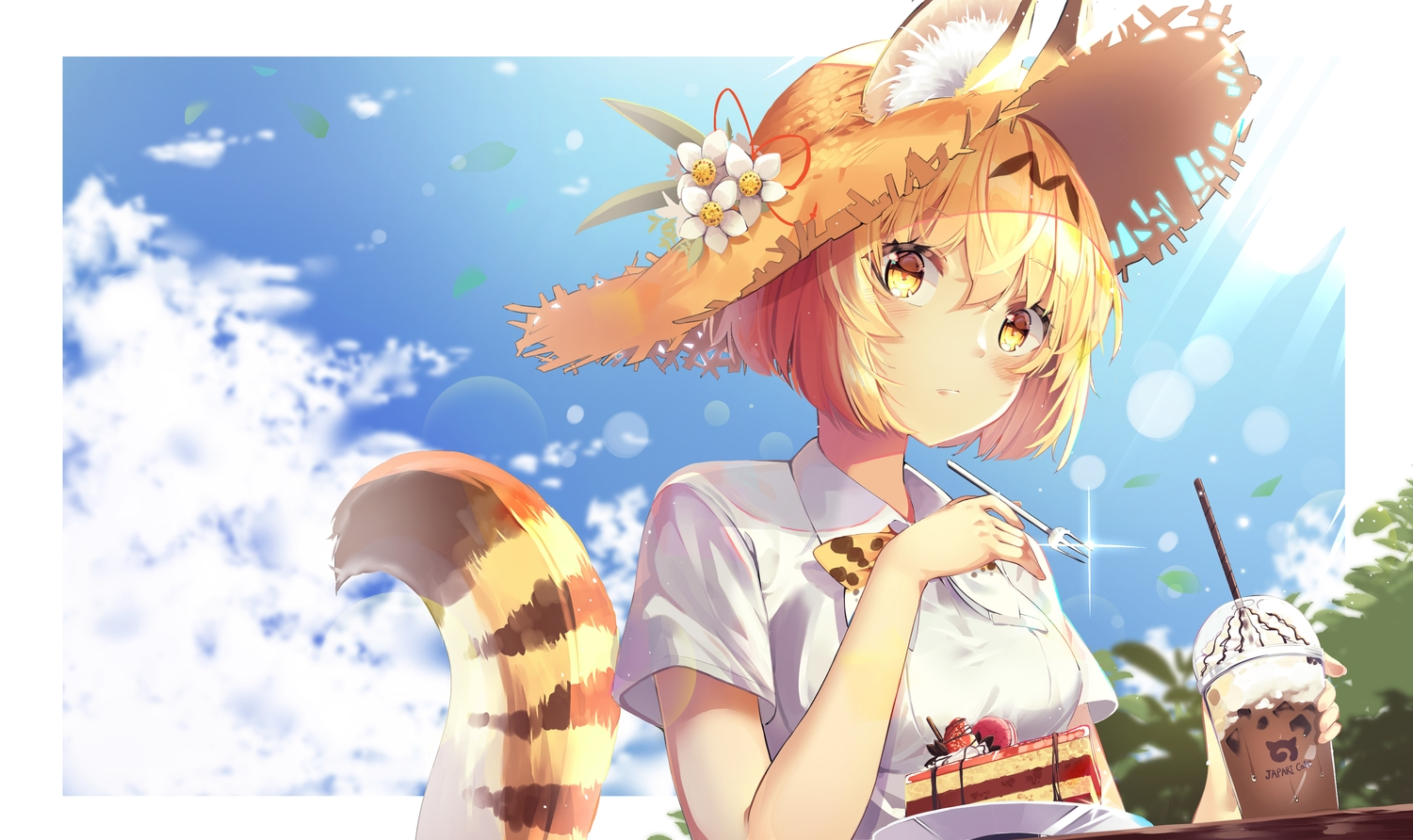 animal_ears animal_ears_(artist) anthropomorphism blonde_hair blush cake catgirl clouds drink flowers food fruit hat kemono_friends serval short_hair sky strawberry tail