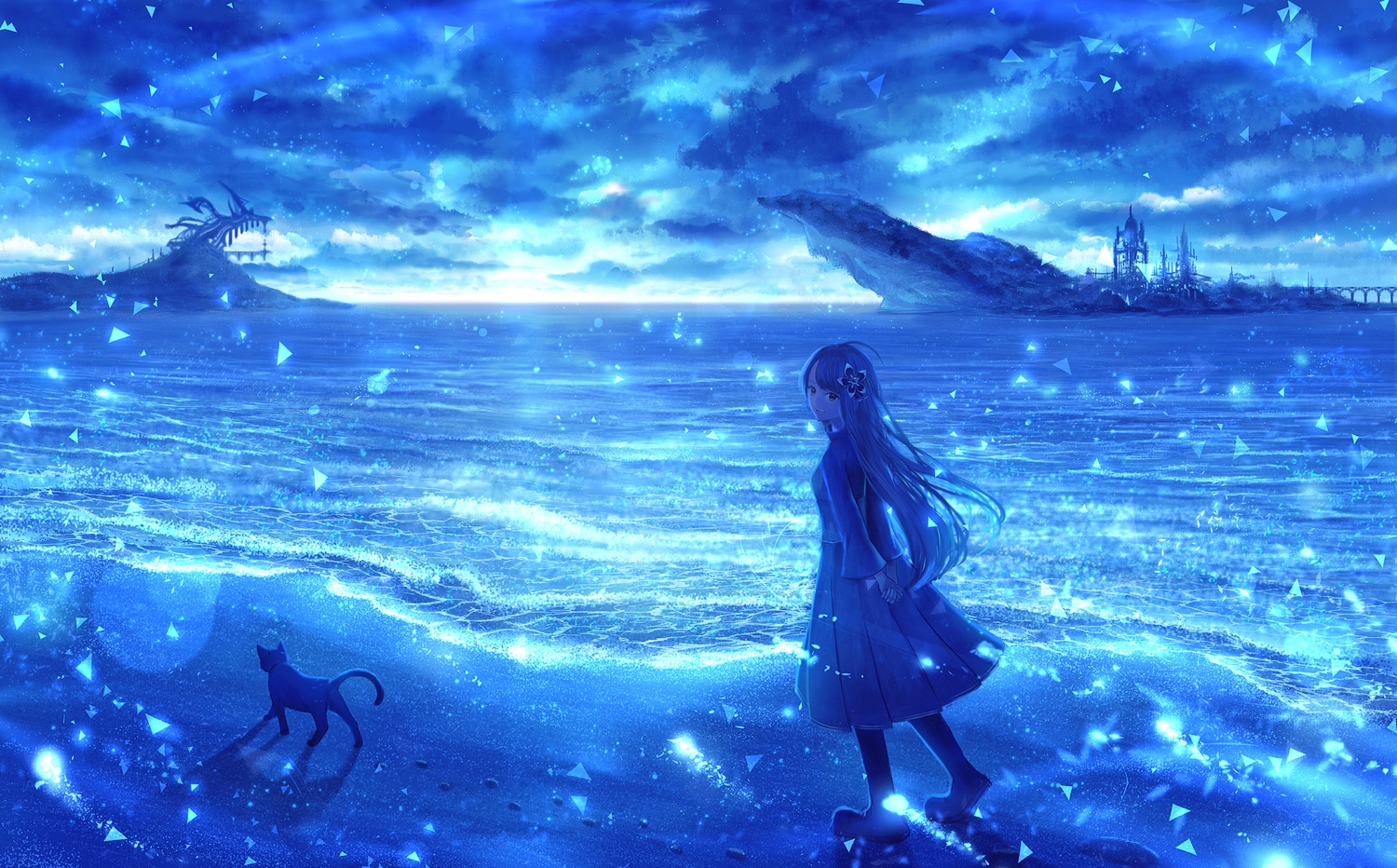 animal blue bou_nin cat clouds long_hair original polychromatic scenic sky water