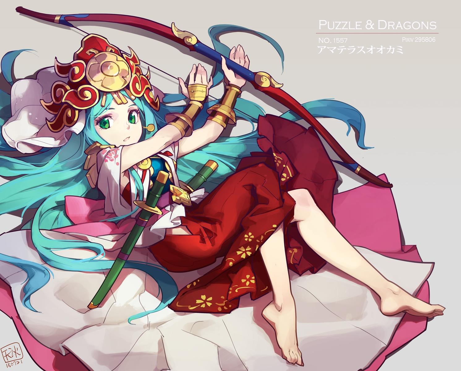 amaterasu_(p&d) aqua_hair barefoot bow_(weapon) green_eyes headdress japanese_clothes long_hair puzzle_&_dragons sword tennohi weapon wristwear