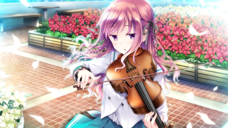 ensemble_(company) flowers game_cg instrument leaves mizusawa_sayaka omoi_o_sasageru_otome_no_melody pink_eyes pink_hair school_uniform tagme_(artist) violin