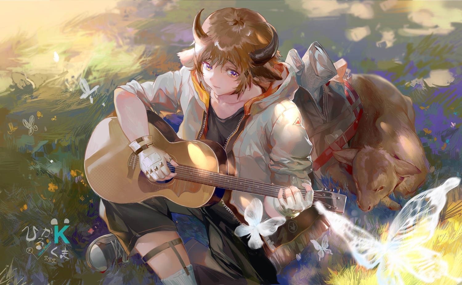 all_male animal arknights bison_(arknights) cow daylightallure guitar horns instrument male