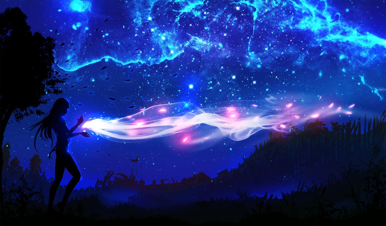 landscape magic night original ryky scenic silhouette sky tree