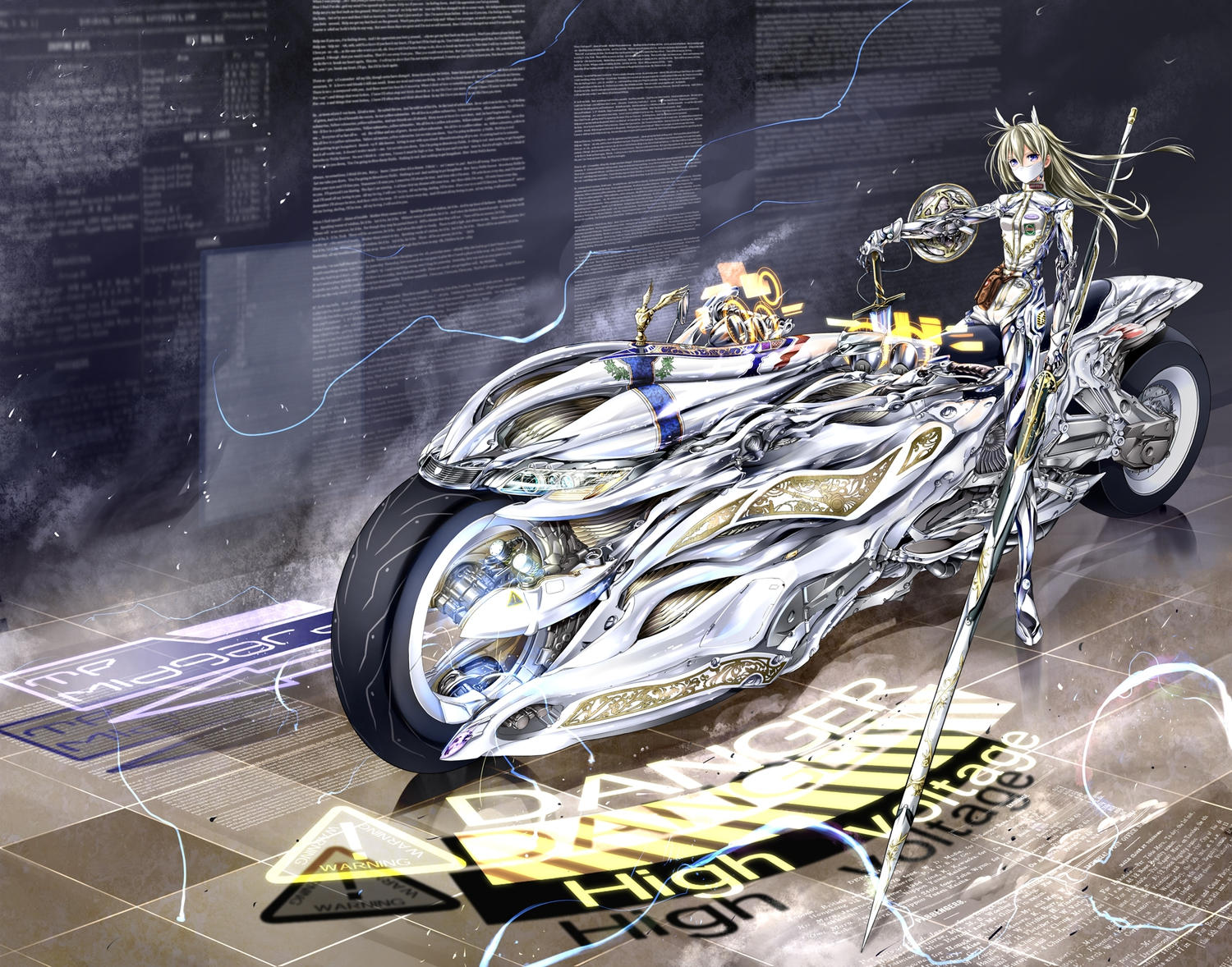 armor giba_(out-low) mask motorcycle original sword weapon