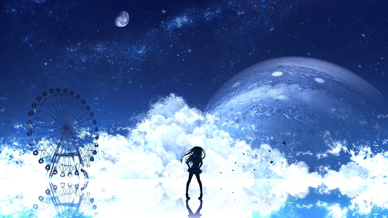 animal bird clouds long_hair original polychromatic reflection scenic silhouette skirt yoshimo_(yoshiki_qaws)