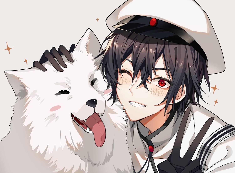animal black_hair blush close dog gloves hat jpeg_artifacts kaito kazenemuri male red_eyes short_hair uniform vocaloid