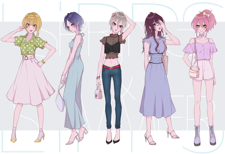 dress hayami_kanade ichinose_shiki idolmaster idolmaster_cinderella_girls jougasaki_mika miyamoto_frederica ohagi_(ymnky) shiomi_shouko skirt socks