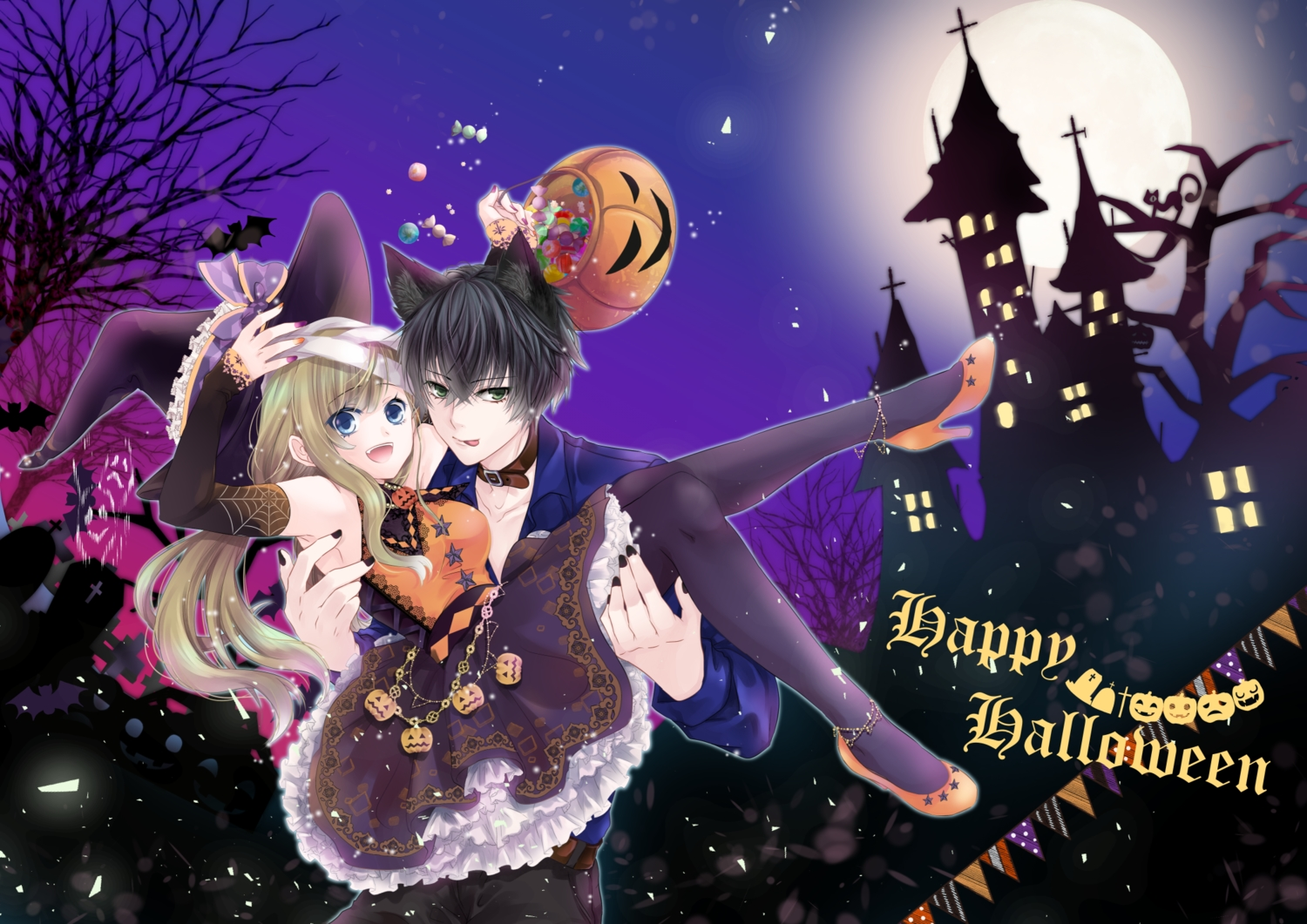 aliasing animal_ears black_hair blue_eyes brown_hair candy choker dress green_eyes halloween hat ikemen_revolution long_hair male moon night pumpkin ray_blackwell short_hair tagme_(character) tsukiya_(joan) witch_hat