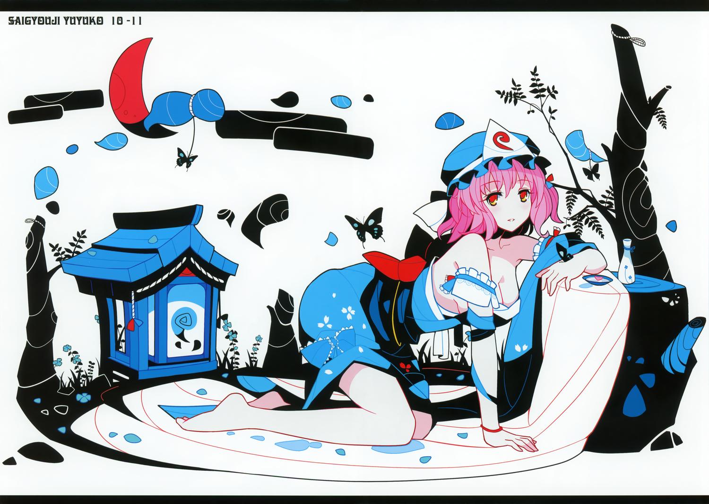 bow breasts cleavage dress hat ideolo orange_eyes pink_hair saigyouji_yuyuko scan short_hair touhou white