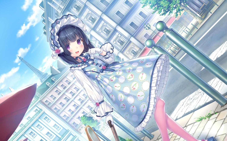 black_hair blush building city game_cg gloves headdress loli lolita_fashion minazuki_shigure nekopara neko_works pantyhose purple_eyes sayori short_hair