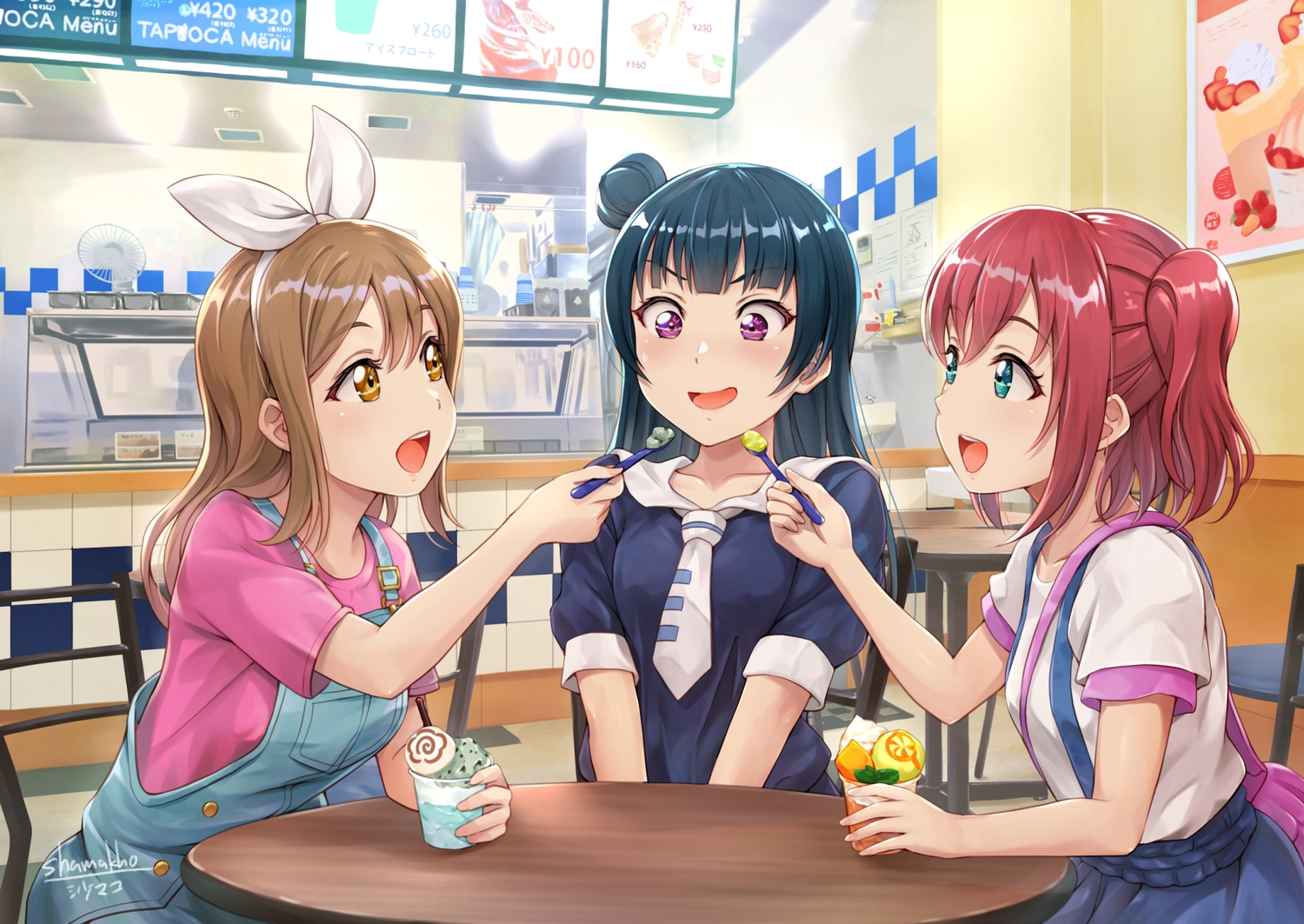 black_hair brown_hair food green_eyes ice_cream kunikida_hanamaru kurosawa_ruby long_hair love_live!_school_idol_project love_live!_sunshine!! purple_eyes red_hair shamakho short_hair signed skirt tie tsushima_yoshiko twintails yellow_eyes