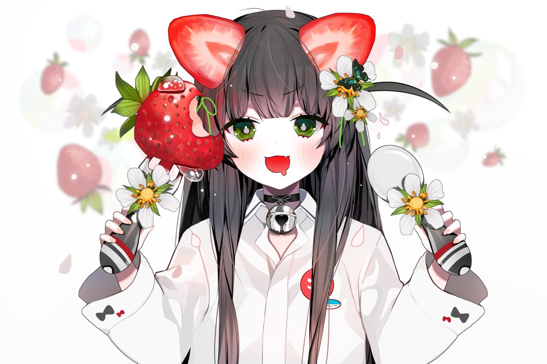 bell black_hair blush catgirl cat_smile collar cropped fang flowers food fruit green_eyes long_hair modanyang original petals shirt strawberry