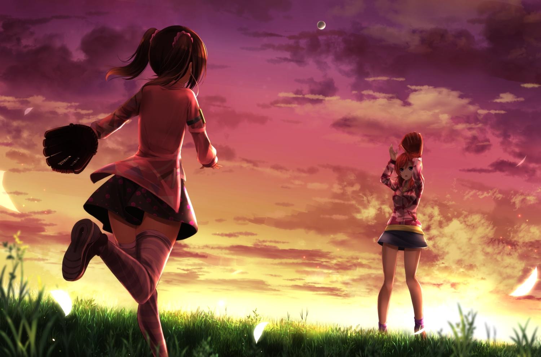 2girls ball baseball clouds grass love_live!_school_idol_project nishikino_maki orein purple_eyes skirt sky sport sunset twintails yazawa_nico